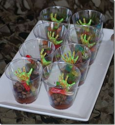zombie pudding cups, with zombie hands and gummy worms call of duty black ops II party