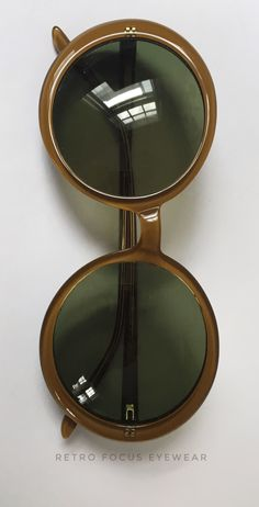 fde192361e FOLLI FOLLIE Oversized Round Sunglasses in Mustard brown with olive green  lenses. Large wide frame