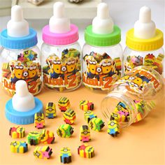 25pc / New Kawaii Cute Cartoon Minions Plastic Bottles Eraser For Children School Supplies Student Gift