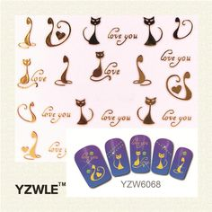 [Visit to Buy] YZWLE 1 Sheet Nail Gold Cat Style For 2017 Nail Sticker Nail Gold Sticker #Advertisement