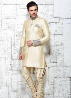 Beige designer Indian wedding wear kurta pajama in jute silk