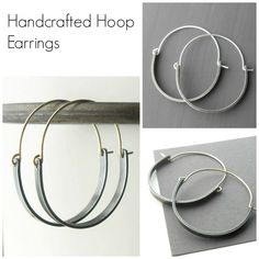 Earrings Handmade Handmade jewelry including these modern style hoop earrings made from sterling silver and gold filled wire. Beaded Tassel Earrings, Earrings Handmade, Beaded Jewelry, Jewelry Necklaces, Hoop Earrings, Metal Jewelry, Silver Jewelry, Silver Ring, Silver Earrings