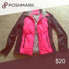 Great Calvin Klein running jacket! Comfy running jacket - I just have too many! Beautiful hot pink and grey. Comes with smartphone pocket and headphone access. Also has thumb holes! ONLY WORN TWICE and not to run in. Calvin Klein Jackets & Coats Utility Jackets