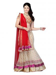 Red, Beige Net And Brockade Wedding Wear Designer Lehenga Choli Beautiful