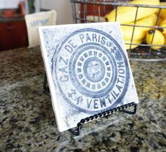 Ceramic Coaster of Paris Sewer Cap by VPVPhotography on Etsy