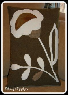 Flower Pillow, Primitive Wool Applique, Maggie Bonanomi Designs
