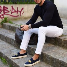 Casual outfit with navy #slipon  [ http://ift.tt/1f8LY65 ]