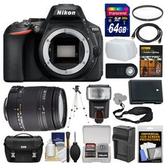 Nikon D5600 Wi-Fi Digital SLR Camera Body with Sigma 18-250mm Lens + 64GB Card + Case + Flash + Battery & Charger + Tripod Kit. KIT INCLUDES 17 PRODUCTS -- All BRAND NEW Items with all Manufacturer-supplied Accessories + Full USA Warranties:. [1] Nikon D5600 Wi-Fi Digital SLR Camera Body + [2] Sigma 18-250mm DC Macro Lens + [3] Nikon Digital SLR Camera Case + [4] Transcend 64GB SDXC 300x Card +. [5] Spare EN-EL14a Battery + [6] Battery Charger + [7] Vivitar 62mm UV Glass Filter + [8]...