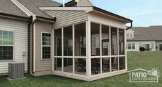 Relax in a Patio Enclosures screen room or screened porch. Our super-strength aluminum screens are nearly invisible. Screened Porch Designs, Screened In Patio, Backyard Patio Designs, Yard Landscaping, Front Porch, Patio Screen Enclosure, Patio Enclosures, Covered Deck Designs, Hot Tub Room
