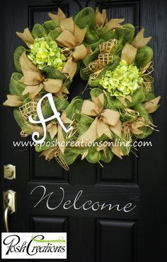 Spring Decor,, Spring Wreath,  Spring Mesh Wreath, Burlap Wreath, Deco Mesh Wreath, Door Decor, Custom initial Monogram Wreath on Etsy, #Christmas Decor