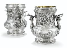 A PAIR OF SILVER LARGE WINE-COOLERS, SPURIOUS FRENCH MARKS, PROBABLY HANAU CIRCA 1880, AFTER MEISSONNIER