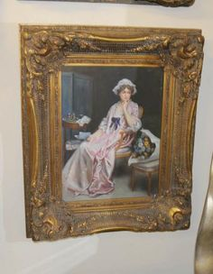 Victorian Oil Painting Maiden Portrait Gilt Frame