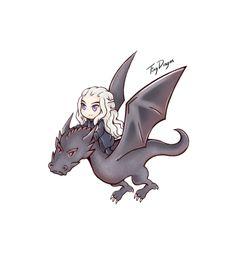 Game of Thrones - Daenerys & Drogon Illustration by TinyDragon Game Of Thrones Drawings, Game Of Thrones Artwork, Got Dragons, Mother Of Dragons, Chibi, Game Of Trones, My Champion, Cute Kawaii Drawings, Cartoon Sketches