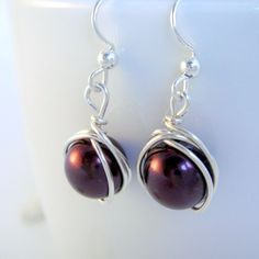 Burgundy Red Vintage Glass Pearl Earrings