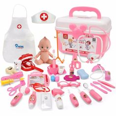 Children's doctor toy sets sounding lights stethoscope medical tools simulation home care medical kit Doctor Play Set, Doctor For Kids, Toys For Girls, Kids Toys, Tinker Toys, Pink Plastic, Doll Costume, Pretend Play, Toy Store