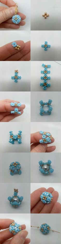 Beaded round bead using seed beads and superduos or miniduos