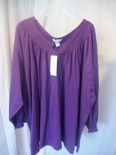Sz 6X NEW SILHOUETTES Dark Purple Long Sleeve Jersey Knit Tunic Casual Top - http://stores.ebay.com/Classy-Fashions-and-Accessories?_trksid=p2047675.l2563