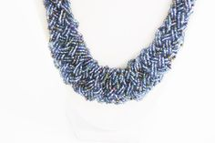 Vintage Blue Multistrand Plastic Seed Bead by RomantiqueTouch