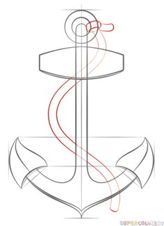 How to draw an anchor with rope | Step by step Drawing tutorials