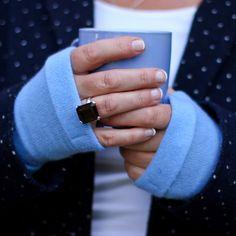 Sky Blue Cashmere Fingerless Gloves | Turtle Doves