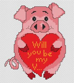 Free pig cross stitch pattern- would be cute to use monogram instead of saying in heart