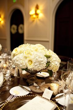 Ivory Hydrangea Wedding Centerpiece   photography by http://lauranegriphotography.com/