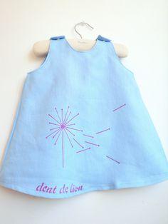 French Dress - Jumper Dent-de-Lion (Dandelion) - Baby Dress - Toddlers Dress - Girls Dress.