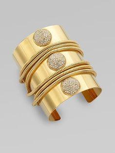 ABS by Allen Schwartz Jewelry Pavé Stone & Chain Cuff Bracelet