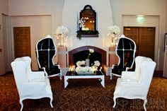 Black and white lounge furniture at this Marbella Country Club Wedding | San Juan Capistrano, CA | Kerry Hatter Weddings and Events | Jim Kennedy Photographers