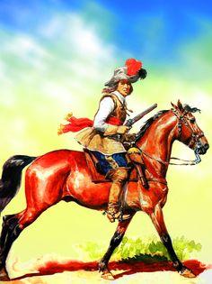 German Bavarian reiter, Thirty Years War- by Lucien Rousselot