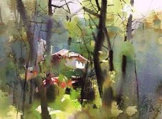 Ping long is a chinese watercolor artist who is not well known in the west, but seems quite well known in china. it's like a whole other watercolor world Watercolor Landscape Paintings, Watercolor Trees, Watercolor Artists, Abstract Watercolor, Abstract Landscape, Watercolour Painting, Watercolors, Watercolor Portraits, Abstract Paintings
