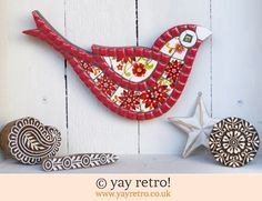 Red Flower Power Bird Mosaic (£26.00)
