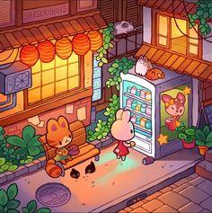 Warm Kyoto Evenings by Stefanie Bollen Cute Kawaii Drawings, Cute Animal Drawings, Kawaii Art, Ac New Leaf, Isometric Art, Cute Art Styles, Dibujos Cute, Kawaii Wallpaper, Pretty Art