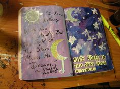 Wreck This Journal - Poke holes page - Celestial theme, w/ bits of a b-day card I'd been holding onto. ~Leslie D. Soule