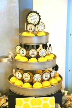 Wheels on the Bus-School Bus Bash- Cupcake Tier- Dessert Table