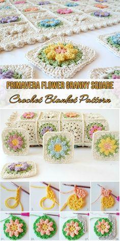 Primavera Flower Granny Square Free Crochet Blanket Pattern