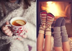 Snowy days spent by a roaring fire in cozy socks with a warm drink in hand.