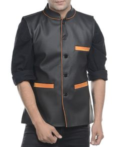 Black nehru jacket   1. Black faux leather jacket2. Chest size: Medium-40 inches, Large-42 inches, XL-44 inches3. Jacket length: 27 inches, Large-27 inches, 28, XL-44 inches