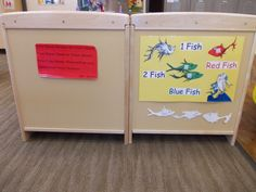 Preschool Dr Seuss Theme Room Enhancements, 1 Fish, 2 FIsh matching poster.  We also put Dr Seuss Quotes around the room