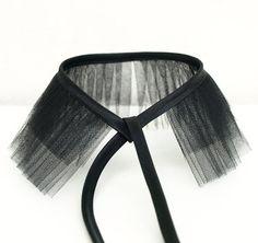 black tulle choker collar
