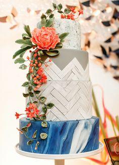 geometric + marble inspired cake