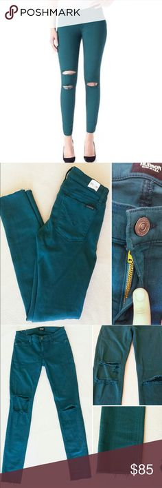 Hudson Krista Super Skinny Ankle Jeggings Sz 26 Excellent condition Hudson Jean Leggings (jeggings). Style is Krista Super Skinny. Raw hem. Very stretchy. Size 26. Teal color. Only worn once. Offers welcome. 20% off bundles! Hudson Jeans Jeans Skinny