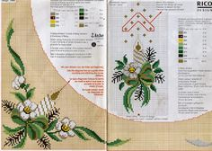 Papa noel y flores navidad punto de cruz mantelerias : Blog de imágenes