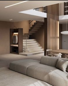 """INTERIOR PORN on Twitter: """"I'm loving everything about this home… """" Home Living Room, Living Room Designs, Living Spaces, Dream Apartment, Apartment Design, Duplex Apartment, Apartment Goals, Minimalist House Design, Modern Minimalist"""