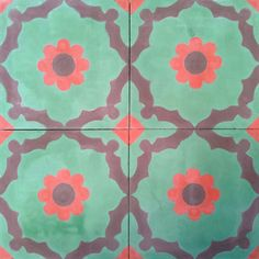 Floral,Bladosas,Encaustic Andalusian Tiles for both the floor and wall.MOD 104