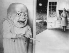 Pop surrealism, surrealism, lowbrow art, new contemporary art: Interview with surreal artist Laurie Lipton Creepy Horror, Creepy Art, Creepy Dolls, Real Horror, Creepy Kids, Vintage Bizarre, Creepy Vintage, Creepy Images, Creepy Pictures