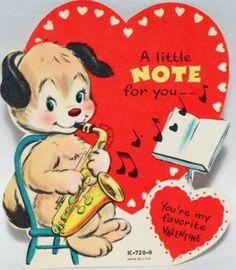 Dog Plays The Saxophone Vintage Valentine Card |