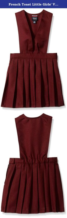 French Toast Little Girls' V-neck Pleated Jumper, Burgundy, 5. Girl's V-neck jumper with permanent pleats, side zipper, and button closure.