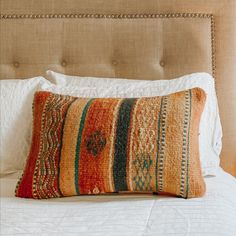 One-of-a-kind Moroccan kilim pillow made from vintage rugs. This is the perfect addition to your simple and classic bedroom or living room. A touch of color that will help you renovate your house without spending a lot. Lucky Collective Textile #LuckyCollective #Kilim #ThrowPillow Orange Throw Pillows, Diy Pillows, Kilim Pillows, Cushions, Silk Pillow, Lumbar Pillow, Handmade Decorations, Pillow Inserts, Moroccan