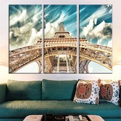 3Pcs/Set Canvas Painting Unframed Poster Eiffel Tower Modern Oil Pictures HD Home Decoration Paris City Modular Wall Paintings #Affiliate
